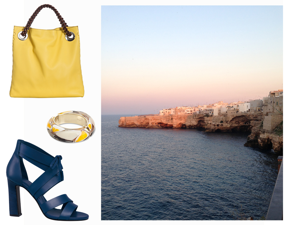 Roberto Cavalli bag, Salvatore Ferragamo bracelet, Hermès shoes.