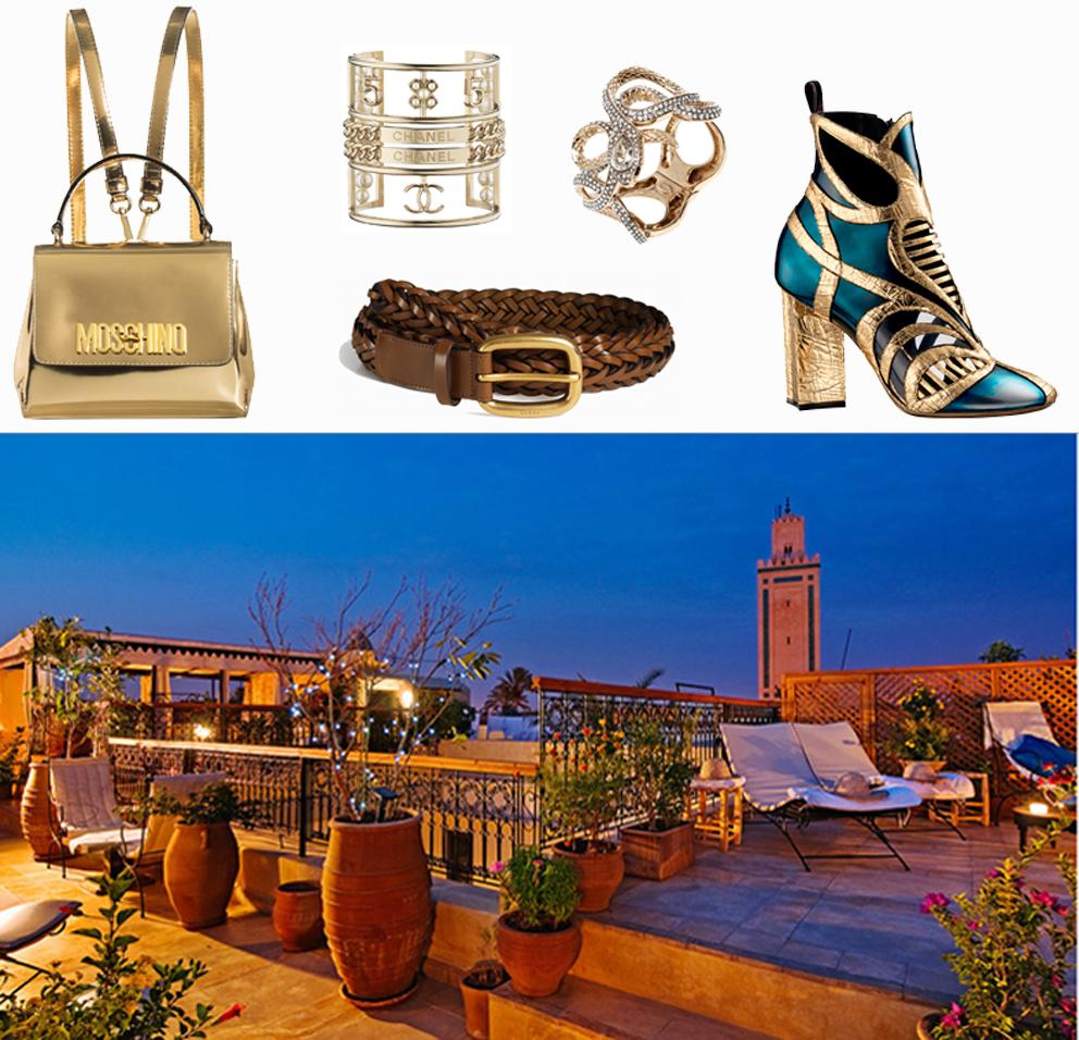 Moschino bag, Chanel bracelet, Roberto Cavalli ring, Guci belt, Louis Vuitton shoes. Ph. Marrakechriads