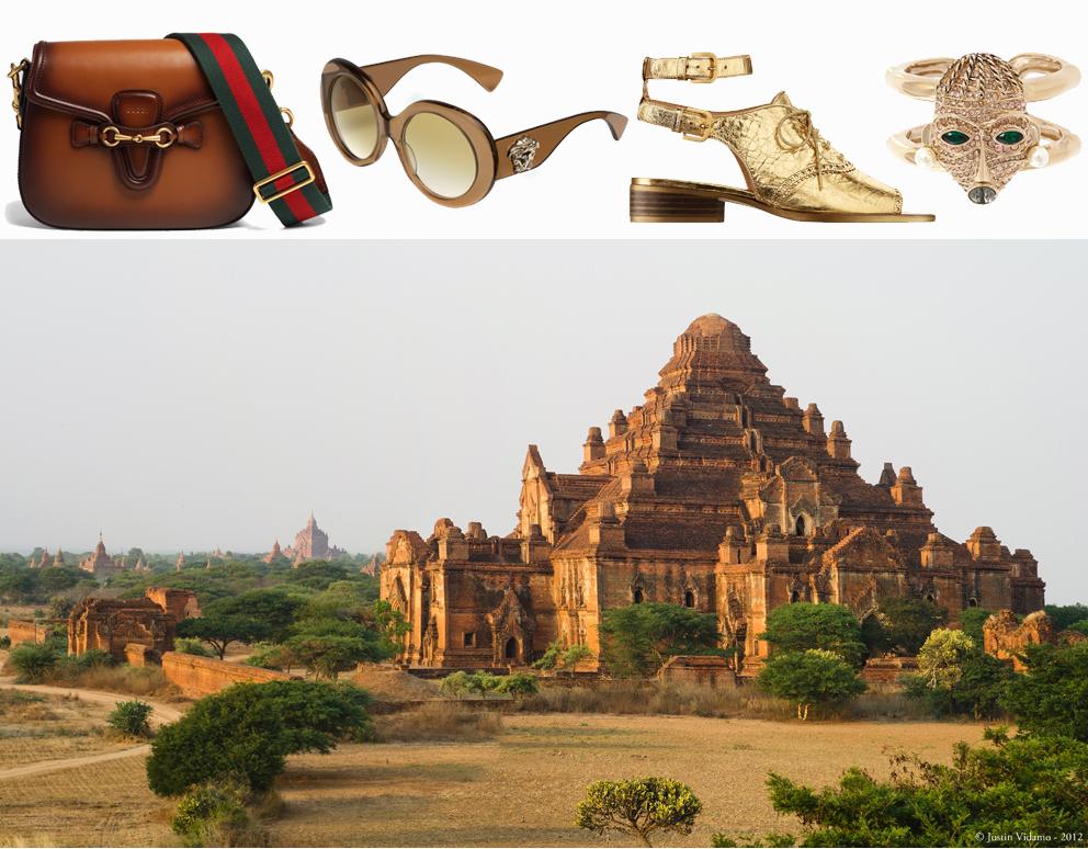 Gucci bag, Versace sunglasses, Chanel shoes, Roberto Cavalli ring.