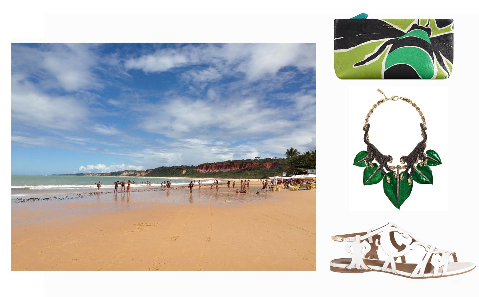 Burberry bag, Roberto Cavalli necklace, Hermès shoes.