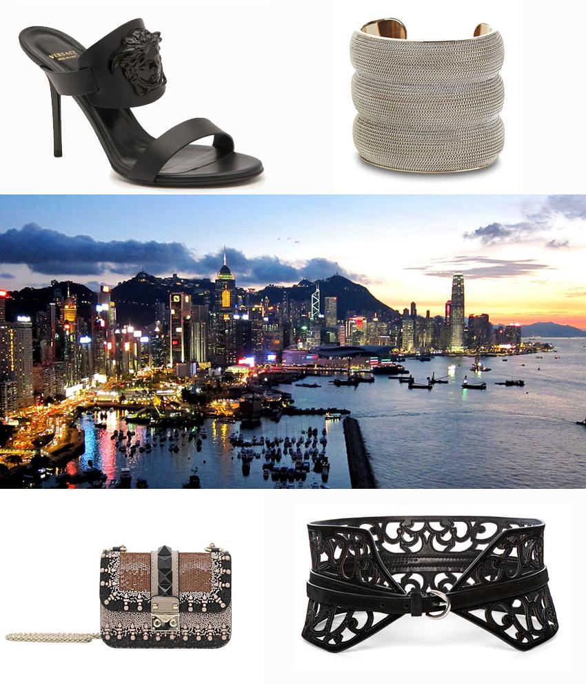Versace shoes, Salvatore Ferragamo bracelet, Valentino Garavani clutch, Ermanno Scervino belt.