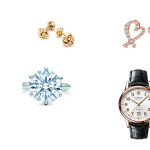 Tiffany & Co. for Saint Valentine's day: Clockwise, from left, Knot cufflinks in 18k gold; Paloma Picasso® Loving Heart diamond earrings in 18k rose gold, mini; Tiffany CT60® 3-Hand 40 mm watch in 18k rose gold; Tiffany® Setting ring;