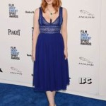 Jessica Chastain ai 2016 Film Independent Spirit Awards indossa un cocktail dress color blu imperiale con corpetto in pizzo, della collezione Spring/Summer 2016 di ELIE SAAB Ready-to-wear.