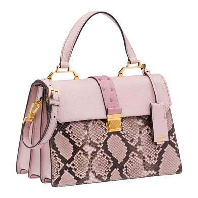 37f06e4258 Miu Miu si fa rosa con la nuova borsa a mano dal quadrante in pitone:  fianco e fondo in vitello soft, maniglia, pendaglio e pattina in madras, ...
