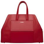 City bag color rosso fuoco, in pelle di vitello a lavorazione bottalata di La Perla.