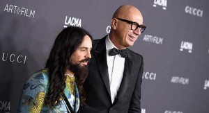 LOS ANGELES, CA - OCTOBER 29:  Gucci Creative Director Alessandro Michele (L) and Gucci President/CEO Marco Bizzarri attend the 2016 LACMA Art + Film Gala Honoring Robert Irwin and Kathryn Bigelow Presented By Gucci at LACMA on October 29, 2016 in Los Angeles, California.  (Photo by Venturelli/Getty Images for LACMA)