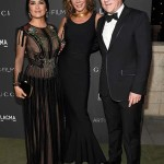 LOS ANGELES, CA - OCTOBER 29:  (L-R) Actress Salma Hayek, Giannina Facio Scott and CEO of Kering Francois-Henri Pinault attend the 2016 LACMA Art + Film Gala honoring Robert Irwin and Kathryn Bigelow presented by Gucci at LACMA on October 29, 2016 in Los Angeles, California.  (Photo by Frazer Harrison/Getty Images for LACMA)