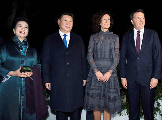 Agnese Renzi, Matteo Renzi and Xi Jinping - by Tiberio Barchielli is licensed under CC BY 3.0