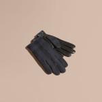 Burberry - Guanti in lana con motivo check e palmo in morbida pelle, ideali per l'utilizzo di dispositivi touchscreen. L'interno è foderato in caldo cashmere.