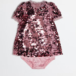 Dolce&Gabbana - Abitino rosa in paillettes con culottes