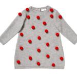 Il Gufo - Abitino tricot in 100% lana merino extrafine color grigio, con applicazione di pon pon rossi