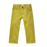 Il Gufo - Pantalone cinquetasche da bambino in cotone smerigliato stretch tinto capo color verde acido