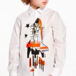 MSGM - Camicia da bambino con fantasia razzo spaziale