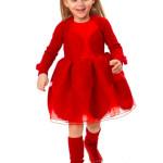 Simonetta - Abito rosso senza maniche in organza semi trasparente con maxi pois ricamati