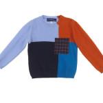 Simonetta - Maglia da bimbo in misto lana a blocchi di colore, girocollo, patch in lana scozzese sul davanti