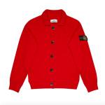 Stone Island Junior - Cardigan rosso con bottoni neri e logo sulla spalla