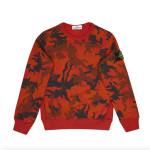 Stone Island Junior - Felpa fantasia mimetica rossa con logo sulla spalla