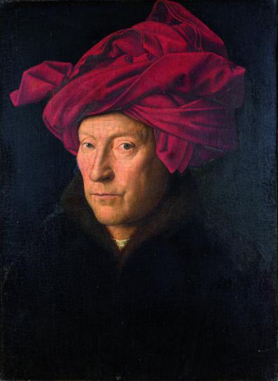 """Jan van Eyck, """"Portrait of a Man (Self Portrait?)"""", 1433, National Gallery, London."""