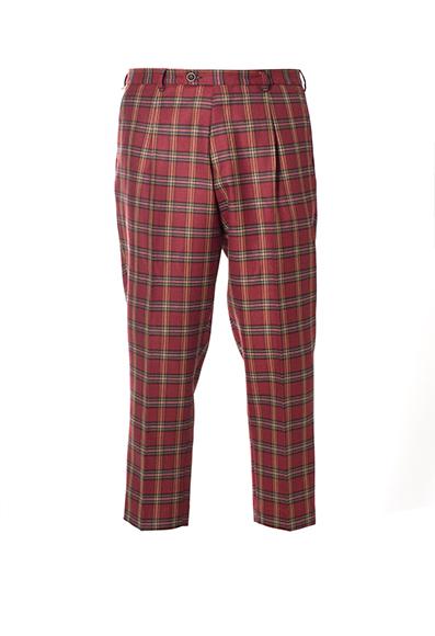 Berwich - Pantaloni loosed fit in lana e cotone con fantasia clan.