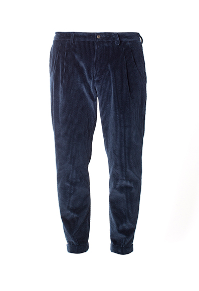 Berwich - Pantaloni carrot fit in morbido velluto blu scuro trecento righe.