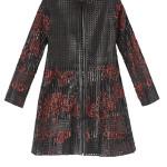 """Soprabito modello """"Mondrian"""" in pelle nera e rossa di Caban Romantic."""