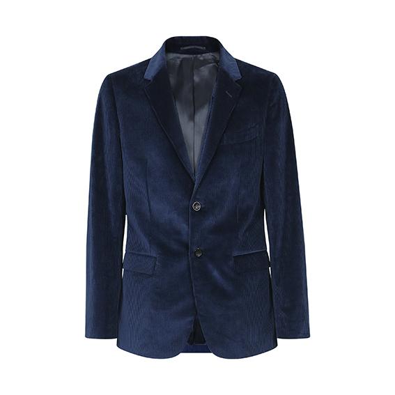Department Five - Blazer in morbido velluto blu cinquecento righe.