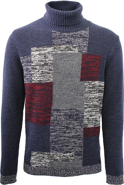 Diktat - Maglione dolcevita in lana, sui toni del blue navy, caratterizzato da un pattern geometrico multicolor.