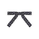 Bow tie di Dior in seta tessuta nera con motivo floreale a righe all-over.