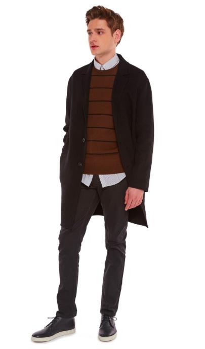 Essentiel - Classico cappotto nero in lana vergine e cashmere.
