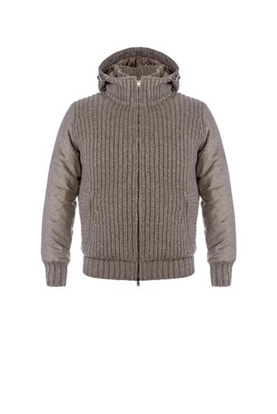 Herno - Cardigan in maglia di puro cashmere con dettagli in cashmere di seta. L'interno è in nylon trapuntato e imbottito di ovatta termica.