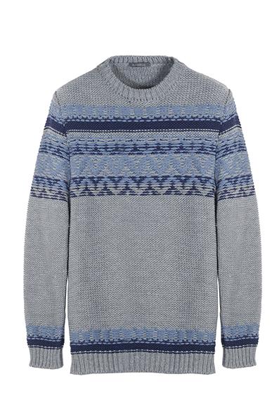Havana&Co - Pullover a girocollo in lana sui toni del grigio, impreziosito da pattern in stile norvegese nei colori dell'azzurro.