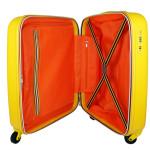 Trolley giallo in tinta unita di K-Way con logo frontale, zip, interno foderato, scomparti interni e fondo con piedini.