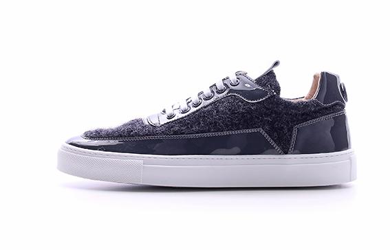 MDV Mariano Di Vaio - Sneaker blu da uomo in vernice e feltro.