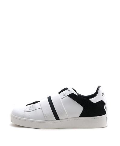 Moa - Sneaker in pelle con un elastico applicato sulla parte superiore della scarpa, a sostituzione delle stringhe, e il logo sulla linguetta.