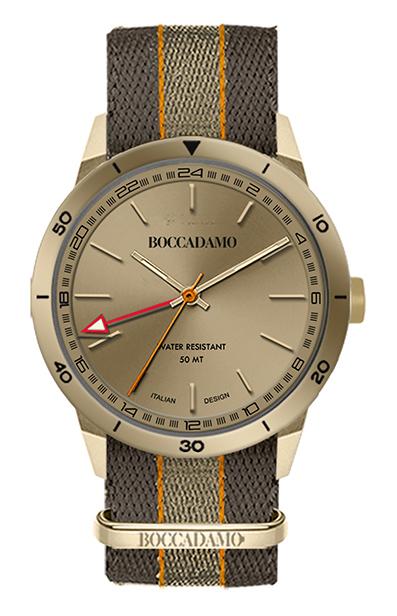 Boccadamo - Orologio crono con quadrante circolare nero, cassa rosata e cinturino in nylon nero, marrone ed arancione. L'edizione è numerata per i primi 500 esemplari.