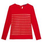 T-shirt di Petit Bateau a maniche lunghe in jersey mi-light tinta unita, con serigrafia a riga marinière e dettaglio con fiocco in gros grain sulla schiena.
