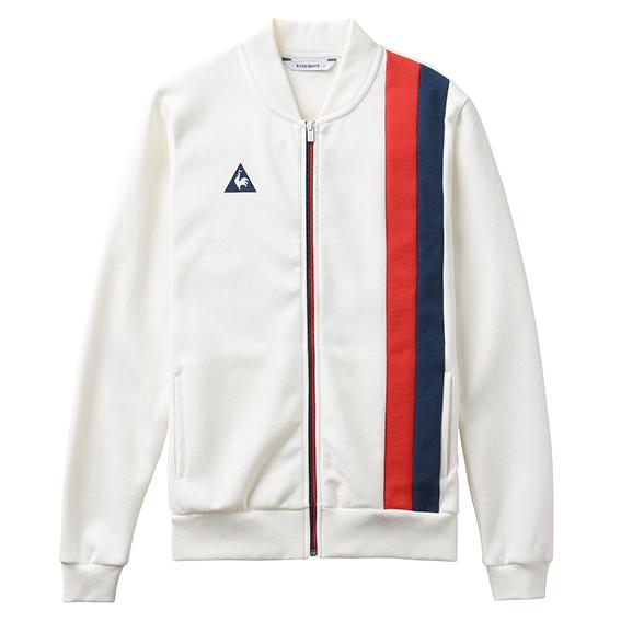 Felpa con zip e banda laterale tricolore di le coq sportif e logo.