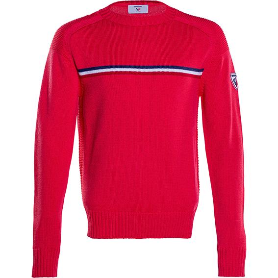 Rossignol - Maglione a girocollo in lava Merino disponibile in blu, in bianco o in rosso, con motivo frontale a righe tricolore e logo sulla spalla.