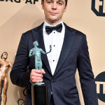 LOS ANGELES, CA - JANUARY 29:  Actor Jim Parsons, winner of the Outstanding Cast in a Motion Picture award for 'Hidden Figures,' poses in the press room during the 23rd Annual Screen Actors Guild Awards at The Shrine Expo Hall on January 29, 2017 in Los Angeles, California.  (Photo by Steve Granitz/WireImage)