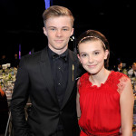 LOS ANGELES, CA - JANUARY 29:  Actors Nicholas Hamilton (L) and  Millie Bobby Brown attend The 23rd Annual Screen Actors Guild Awards Cocktail Reception at The Shrine Auditorium on January 29, 2017 in Los Angeles, California. 26592_018  (Photo by John Sciulli/Getty Images for TNT)
