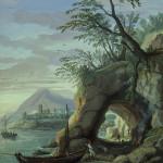 Paesaggio con marina Gaspar Van Wittel, sec. XVIII, ultimo quarto; Tempera su carta. Prato,  Museo di Palazzo Pretorio