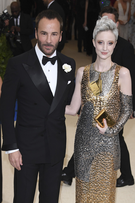 "NEW YORK, NY - MAY 01: Tom Ford and Andrea Riseborough attend ""Rei Kawakubo/Comme des Garcons: Art Of The In-Between"" Costume Institute Gala - Arrivals at Metropolitan Museum of Art on May 1, 2017 in New York City. (Photo by Venturelli/WireImage)"