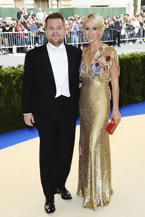 "NEW YORK, NY - MAY 01: James Corden (L) and Julia Carey attend ""Rei Kawakubo/Comme des Garcons: Art Of The In-Between"" Costume Institute Gala at Metropolitan Museum of Art on May 1, 2017 in New York City. (Photo by Karwai Tang/WireImage)"