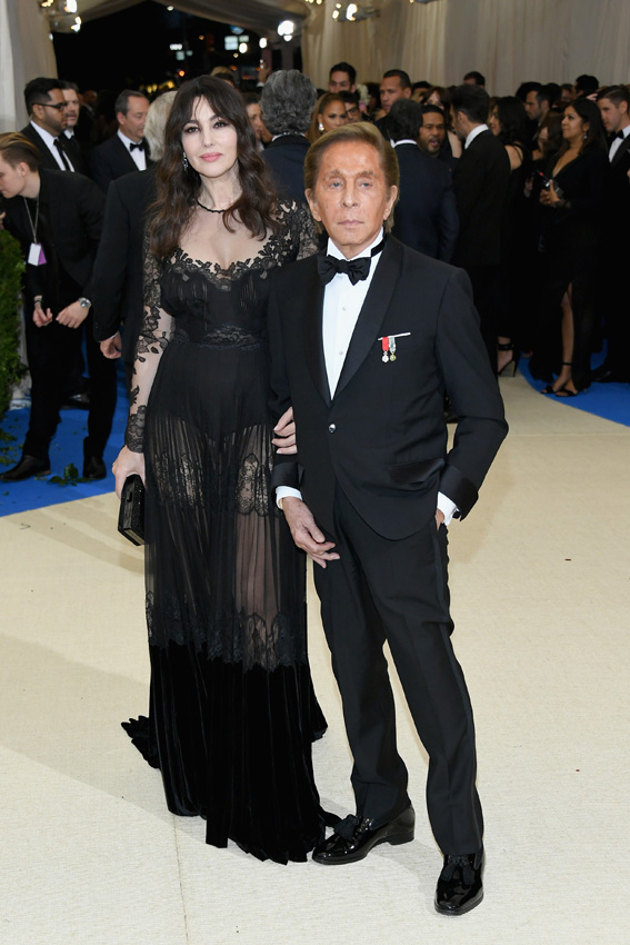 "NEW YORK, NY - MAY 01: Monica Bellucci and Valentino Garavani attend the ""Rei Kawakubo/Comme des Garcons: Art Of The In-Between"" Costume Institute Gala at Metropolitan Museum of Art on May 1, 2017 in New York City. (Photo by Dia Dipasupil/Getty Images For Entertainment Weekly)"