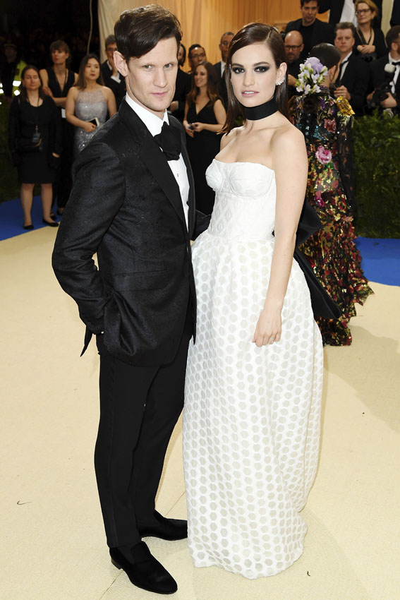 "NEW YORK, NY - MAY 01: Matt Smith (L) and Lily James attend ""Rei Kawakubo/Comme des Garcons: Art Of The In-Between"" Costume Institute Gala at Metropolitan Museum of Art on May 1, 2017 in New York City. (Photo by Karwai Tang/WireImage)"