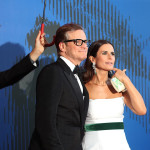 """E per la moglie dell'attore Colin Firth, Livia Firth, un paio di orecchini in oro bianco 18 carati con brillanti (1.16cts) e smeraldi taglio pera (8cts) sfoggiati durante il """"The Franca Sozzani Award ceremony"""""""